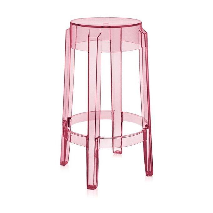 Стул барный Charles Ghost розового цвета