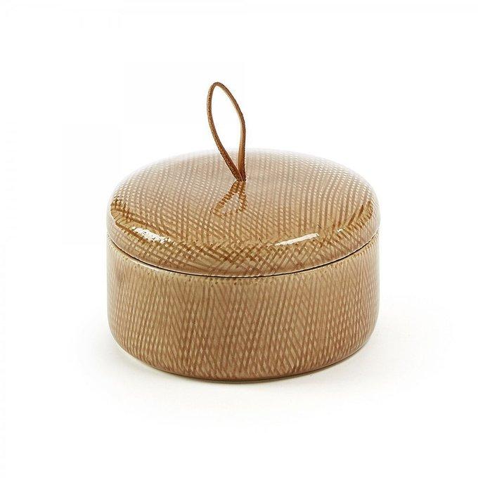 Керамическая шкатулка Akuarel коричневого цвета