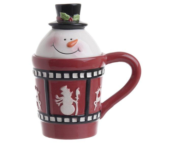 Керамическая чашка Снеговик с крышкой