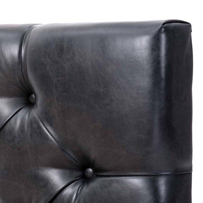 Кровать Монблан с подъемным механизмом из черной экокожи 160х200