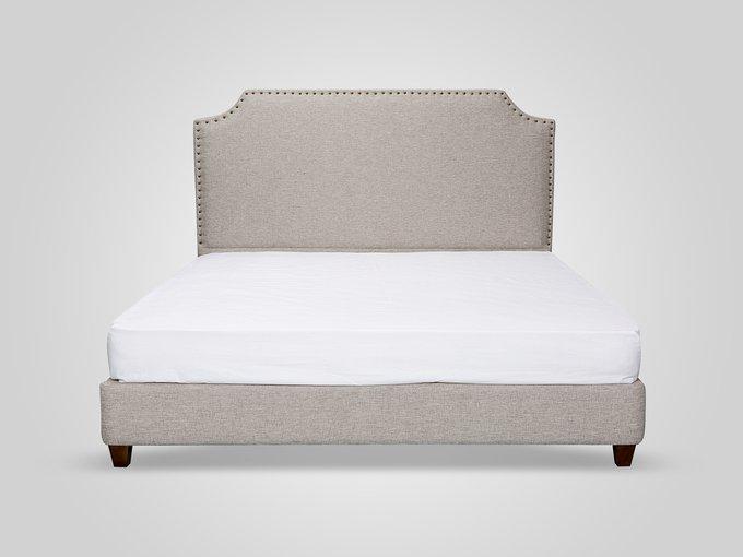 Кровать в обивке из ткани бежевого цвета 160х200