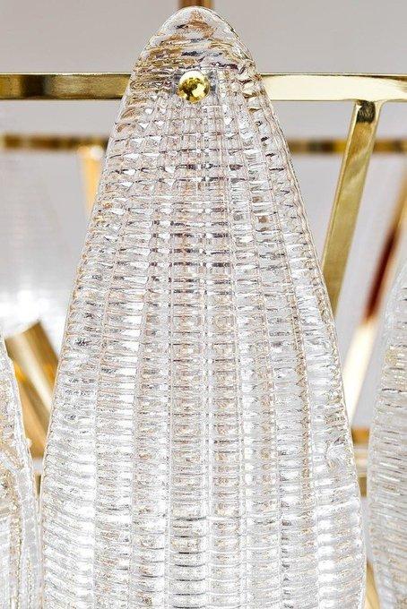 Подвесная люстра Лепестки из металла и стекла