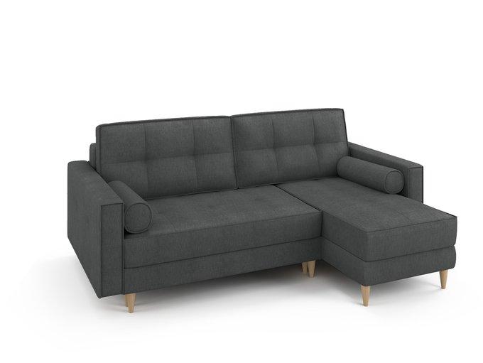 Угловой раскладной диван Отто правый темно-серого цвета