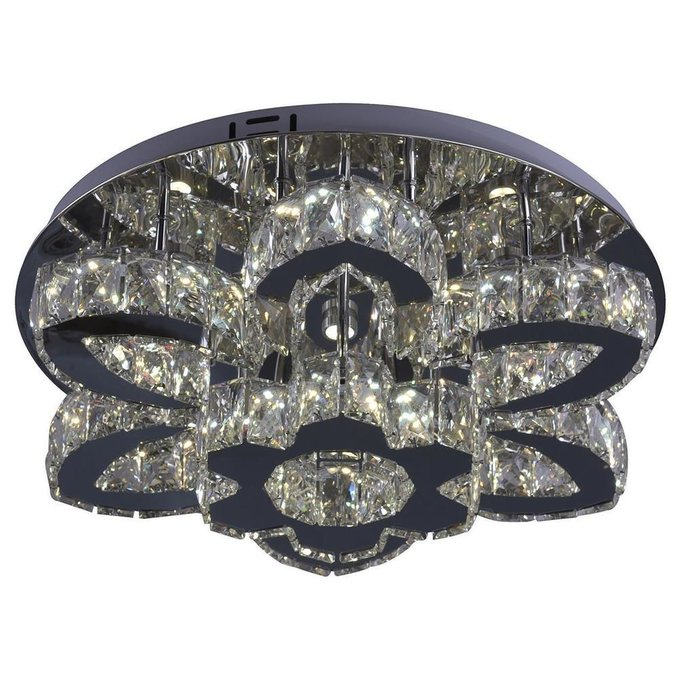 Потолочная светодиодная люстра Тор-Кристалл из металла и хрусталя