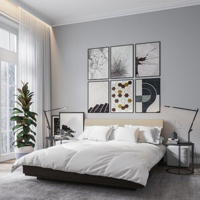 Кровать Элеонора 140х200 с изголовьем бежевого цвета и подъемным механизмом