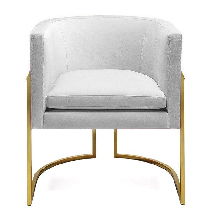 Кресло Julius chair серое на ножках золотого цвета