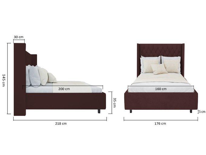Кровать Wing-2 Велюр Коричневый 160x200