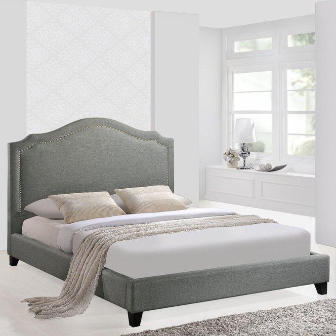 Кровать Cassis Upholstered серого цвета 160х200