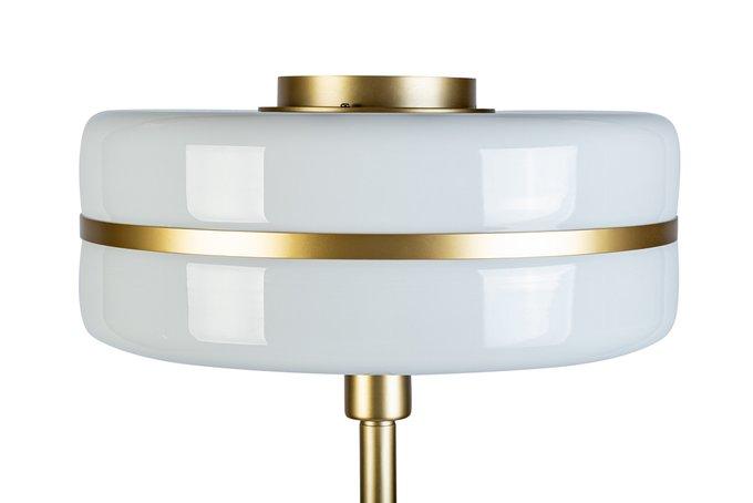 Торшер металлический с плафоном из белого стекла