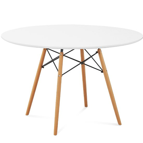 Стол круглый с ножками из массива бука и столешницей белого цвета 120х73