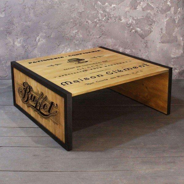 Журнальный стол Retro Cafe из массива сосны и стали