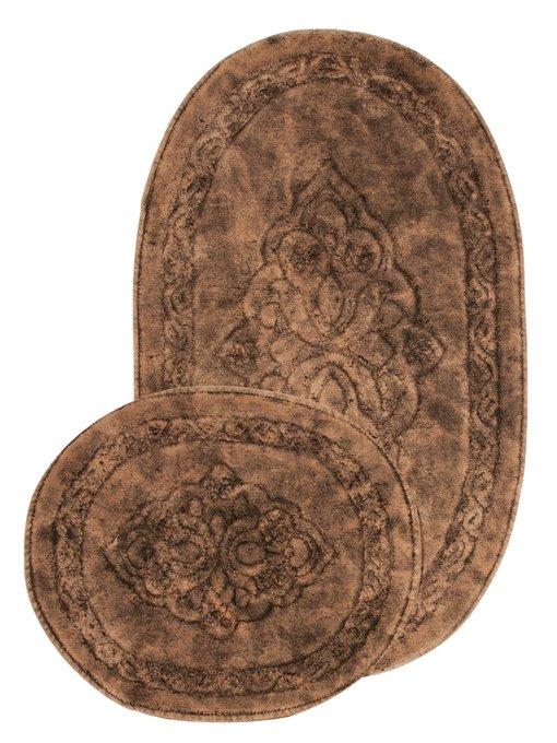 Набор из двух ковриков для ванной из хлопка коричневого цвета