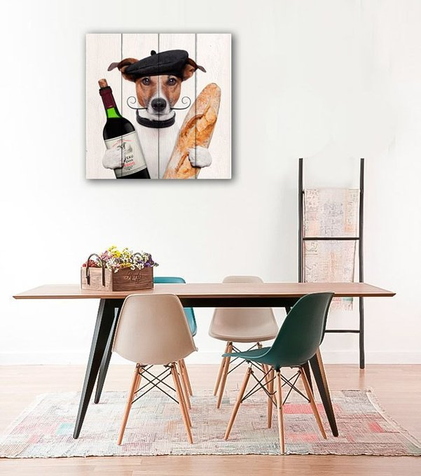 Картина Собака с вином из массива сосны 180х180