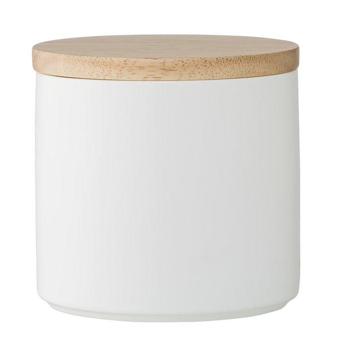 Емкость для хранения с крышкой Wood&White белого цвета