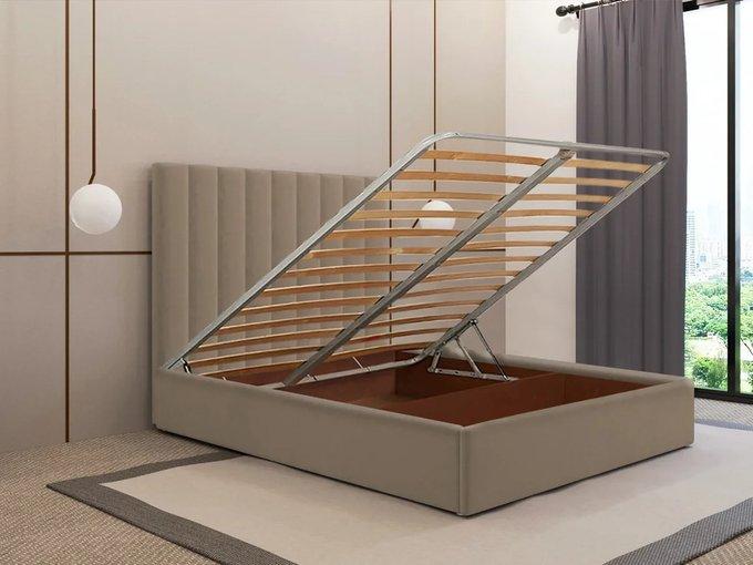 Кровать Параллель 140х200 бежевого цвета с подъемным механизмом
