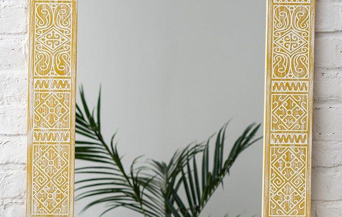 Настенное зеркало MPersia Yellow в раме из массива сосны