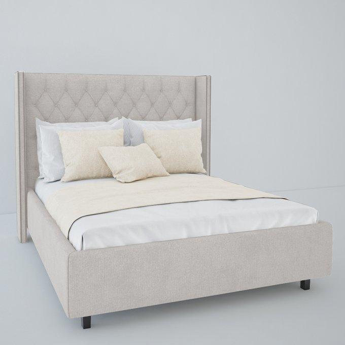 Кровать  Wing Велюр Бежевый 180x200