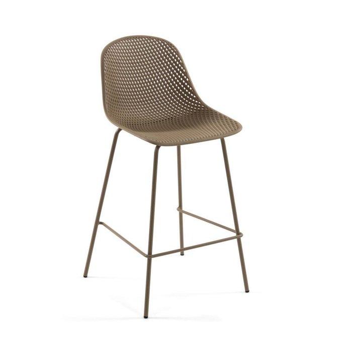 Полубарный стул Beige Quinby stool height бежевого цвета