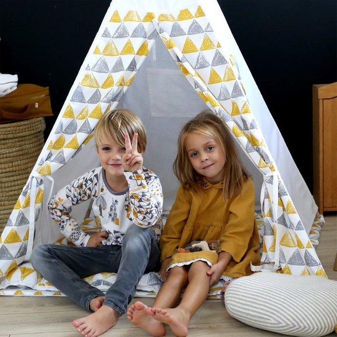 Вигвам большой для детей Triangles с окном и карманом