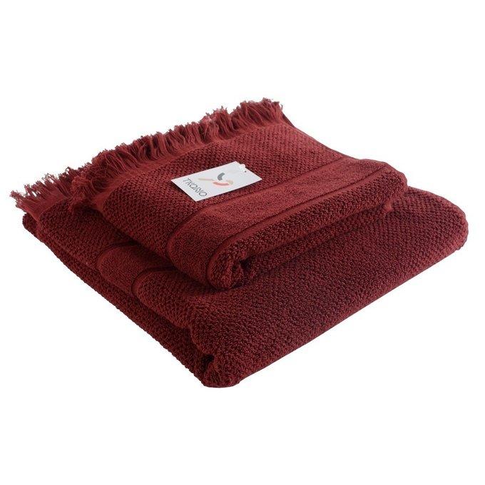 Полотенце банное с декоративной бахромой бордового цвета