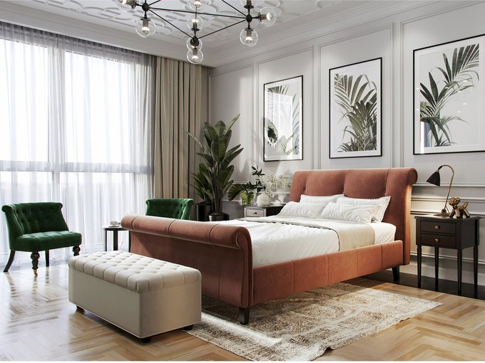 Кровать Lounge коричневого цвета 160х200