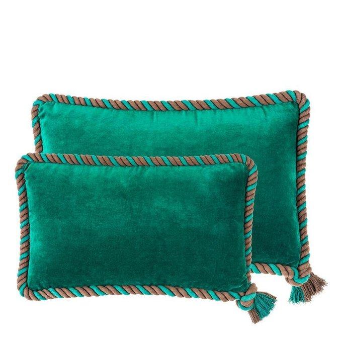 Набор из двух бархатных подушек с декоративным кантом