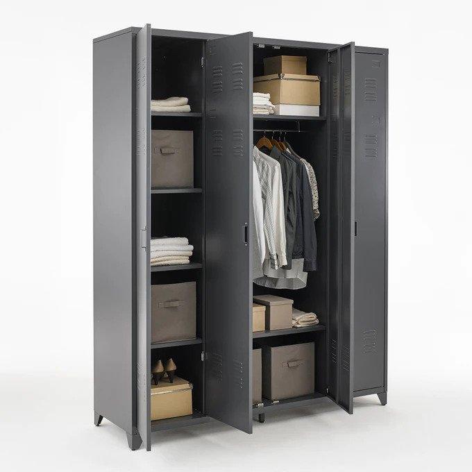 Шкаф Hiba серого цвета с четырьмя дверцами