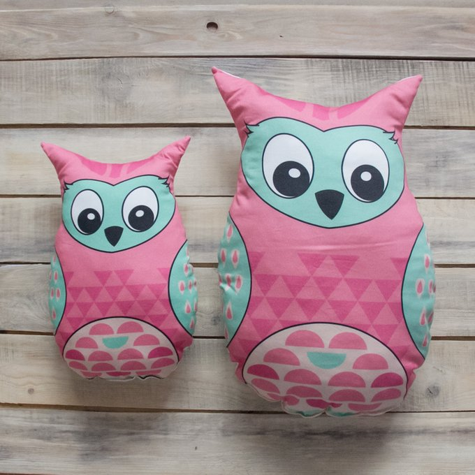 Игрушка-подушка Pink Owl из 100% хлопка