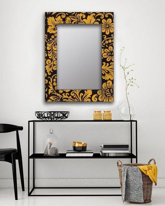 Настенное зеркало Желтые цветы в раме из массива сосны 65х65