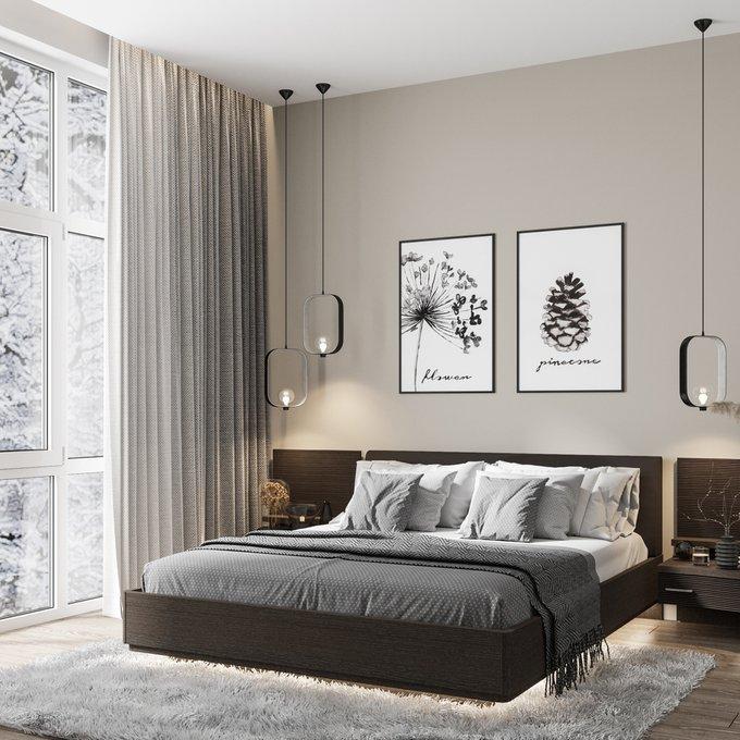 Кровать Элеонора 140х200 черного цвета с подъемным механизмом