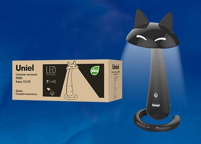 Настольная лампа Uniel Кошка Black