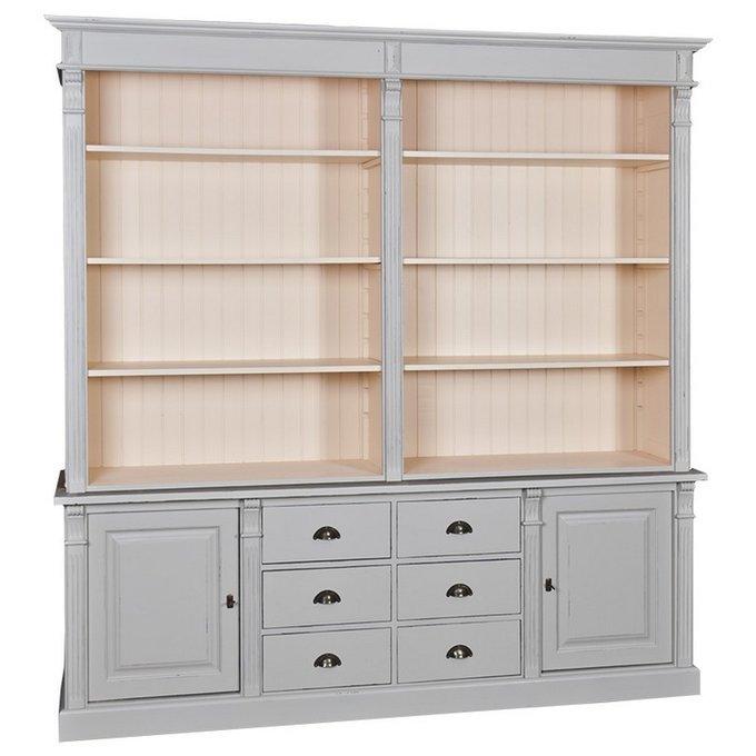 Книжный шкаф Брюгге серого цвета