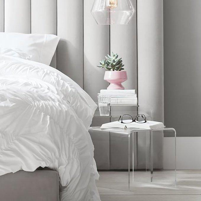 Кровать Avalon Extended Gray серого цвета 180x200