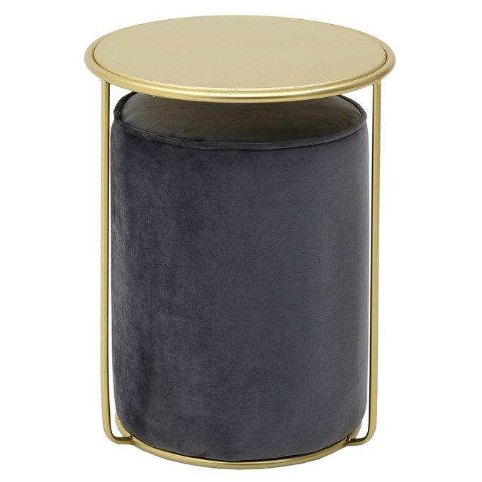 Кофейный столик золотого цвета с черным пуфом