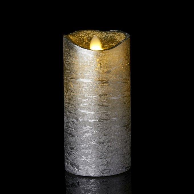 Светодиодная свеча Tenna серебряного цвета с имитацией живого огня