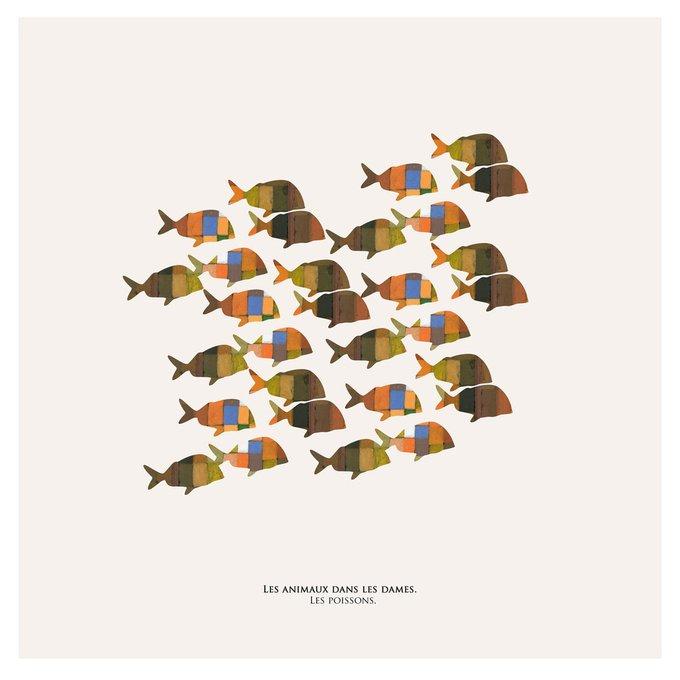 Картина (репродукция, постер): Рыбы в шашках