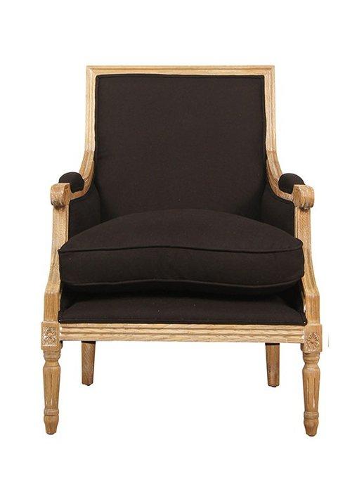 Большое черное кресло с подушкой