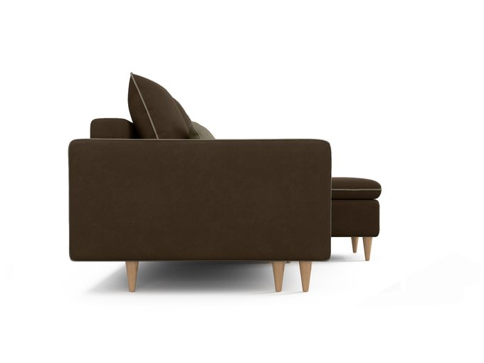 Угловой диван-кровать Ron темно-коричневого цвета
