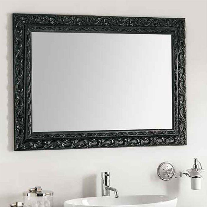 Настенное зеркало Barocco в деревянной раме черного цвета