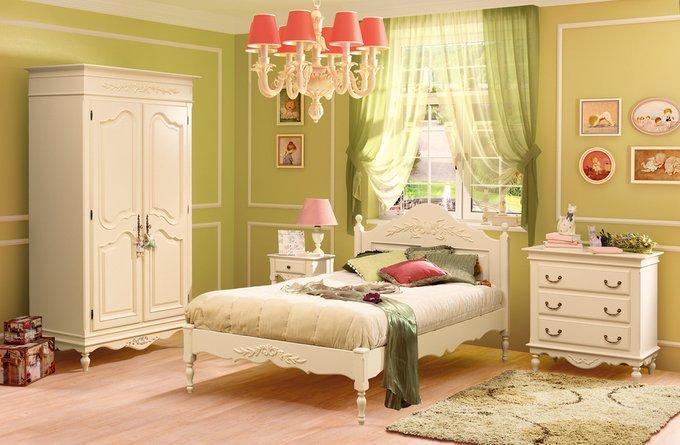 Кровать односпальная Снежный Прованс из массива бука 100х200 см