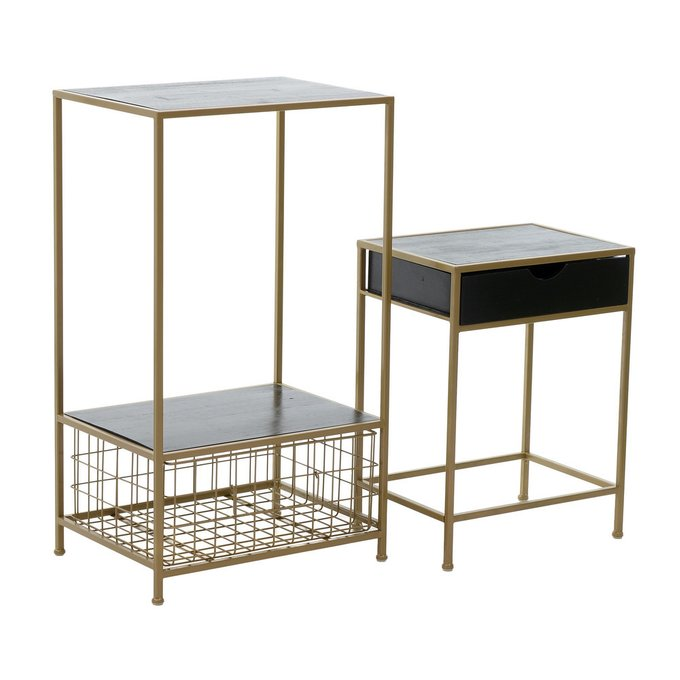 Комплект из двух кофейных столиков из металла и дерева