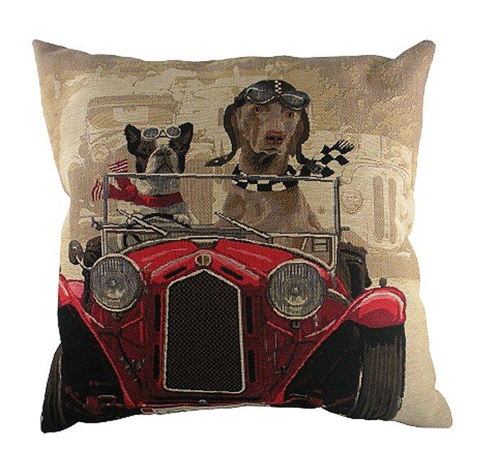 Подушка с принтом Doggie Drivers Red