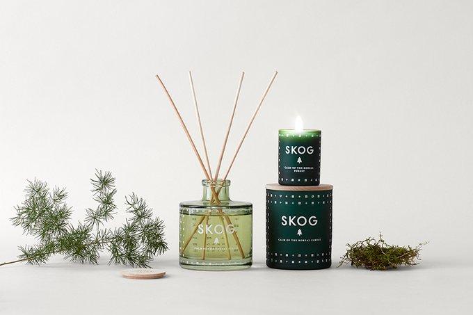 Свеча ароматическая skog темно-зеленого цвета с крышкой