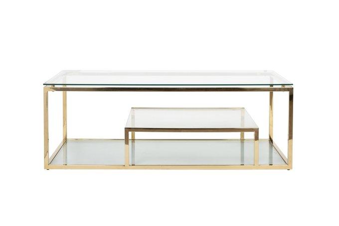 Журнальный стол из стекла и стали золотого цвета