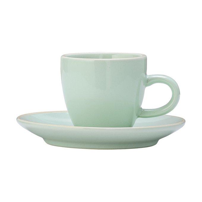 Чашка с блюдцем зеленого цвета