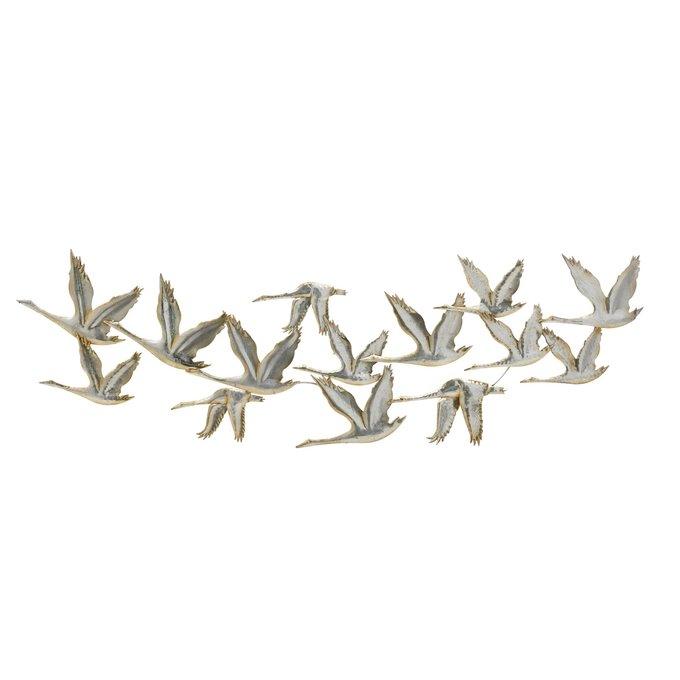 Декор настенный Птицы серебристого цвета