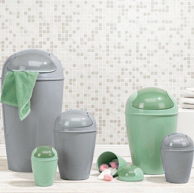 Корзина для мусора с крышкой Del s зеленого цвета