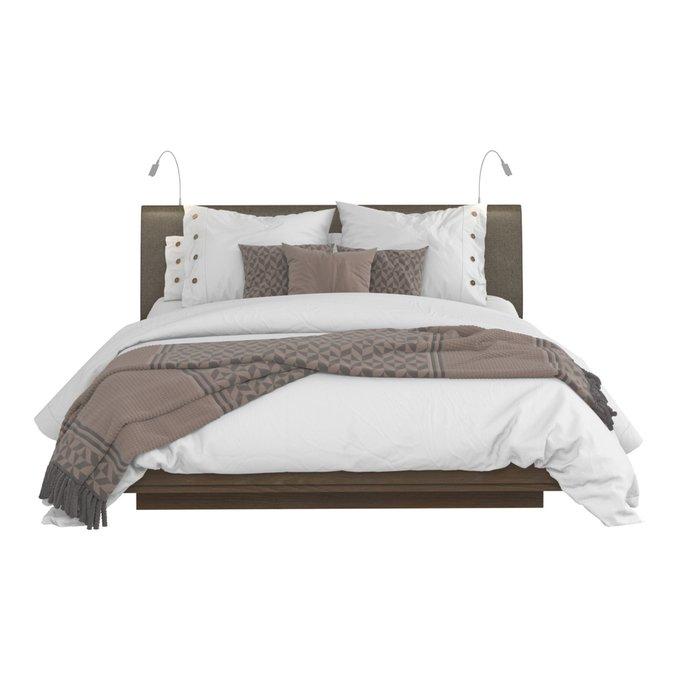 Кровать Сиена 140х200 с серым изголовьем и двумя светильниками