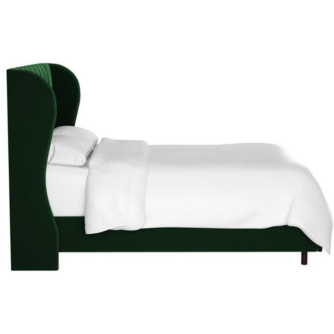 Кровать Reed Wingback Emerald Velvet зеленого цвета 180х200