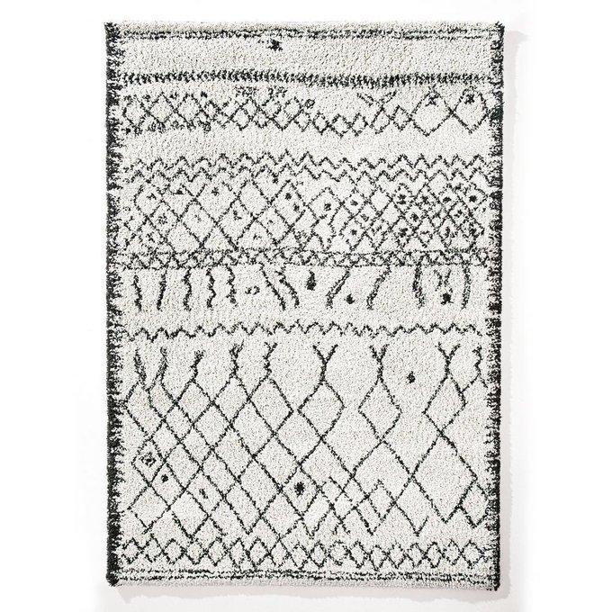Ковер Afaw в берберском стиле бело-черного цвета 160x230